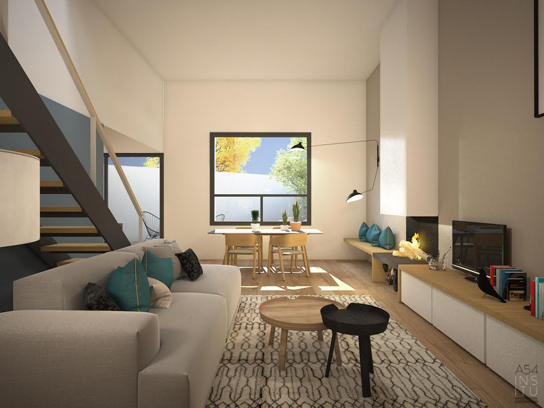 Salón comedor sala de estar del Proyecto de vivienda unifamiliar en Zaragoza realizado por el estudio de arquitectura diseño e interiorismo A54insitu ubicado en Las Armas Zaragoza