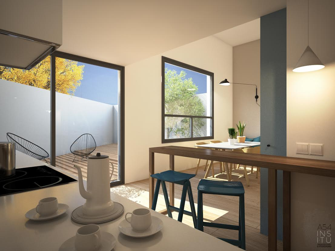 cocina office del Proyecto de vivienda unifamiliar en Zaragoza realizado por el estudio de arquitectura diseño e interiorismo A54insitu ubicado en Las Armas Zaragoza