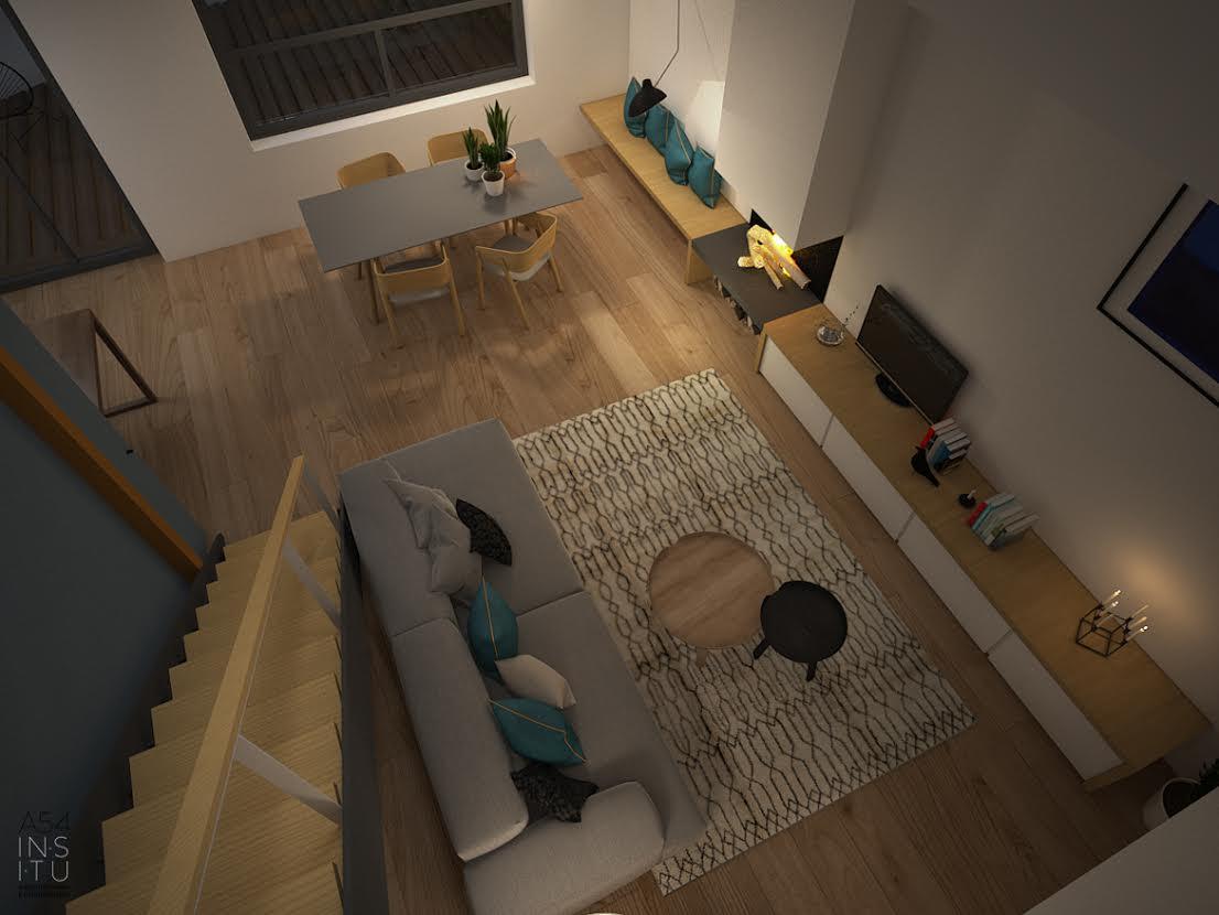 salón doble espacio del Proyecto de vivienda unifamiliar en Zaragoza realizado por el estudio de arquitectura diseño e interiorismo A54insitu ubicado en Las Armas Zaragoza