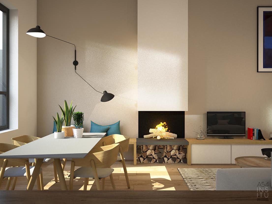comedor con hogar del Proyecto de vivienda unifamiliar en Zaragoza realizado por el estudio de arquitectura diseño e interiorismo A54insitu ubicado en Las Armas Zaragoza