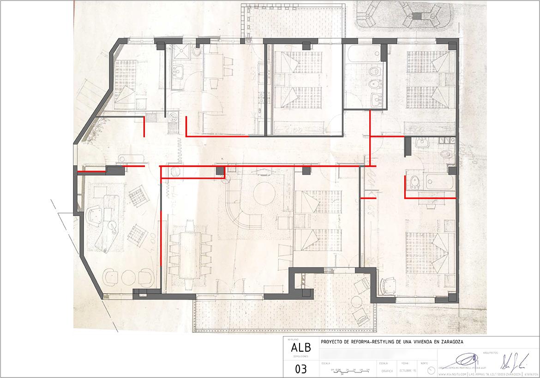 Proyecto de reforma integral de vivienda en el edificio Kasan de Zaragoza realizado por el estudio de arquitectura diseño e interiorismo A54insitu ubicado en Las Armas Zaragoza