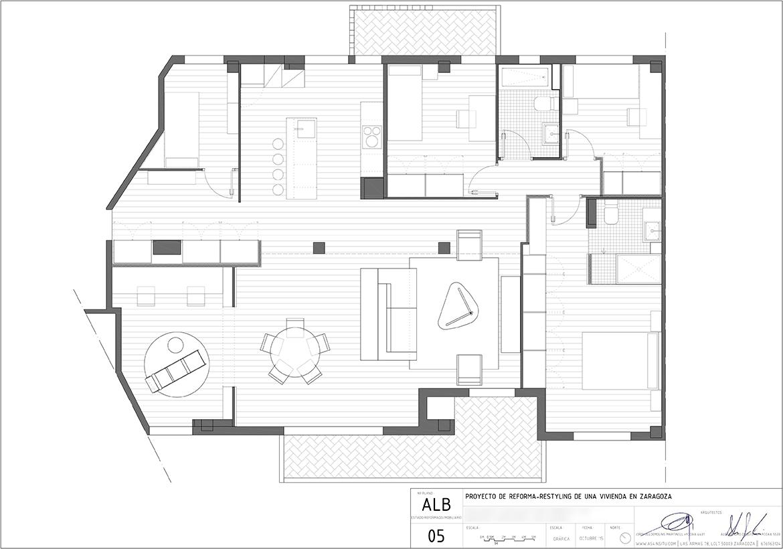 Proyecto de reforma integral de vivienda en el edificio Kasan de Zaragoza realizado por el estudiode arquitectura diseño e interiorismo A54insitu ubicado en Las Armas Zaragoza