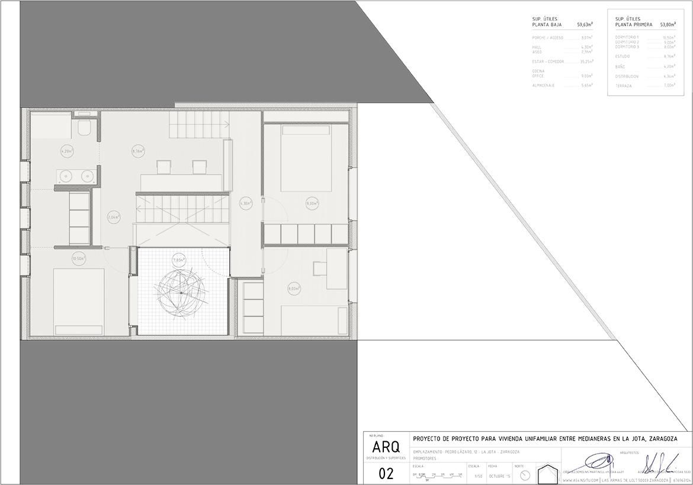 planos del Proyecto de vivienda unifamiliar en Zaragoza realizado por el estudio de arquitectura diseño e interiorismo A54insitu ubicado en Las Armas Zaragoza