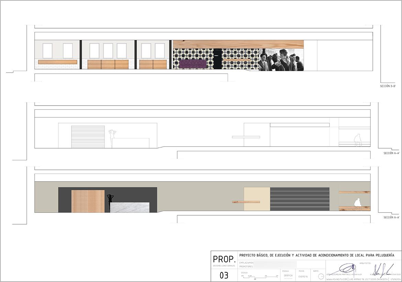 proyecto de acondicionameinto de local reforma y actividad para peluquería en calle Alfonso en Zaragoza realizado por el estudio de arquitectura diseño e interiorismo A54insitu ubicado en Las Armas Zaragoza