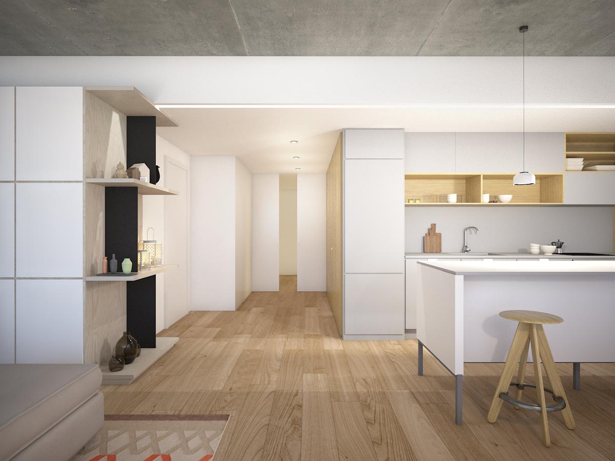 proyecto de acondicionamiento y arquitectura de interiores y restyling de una vivienda en calla Atares de Zaragoza realizado por el estudio de arquitectura diseño e interiorismo A54insitu ubicado en Las Armas Zaragoza