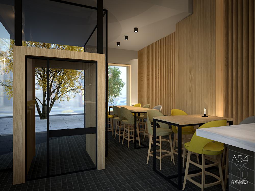proyecto de reforma interior de un bar restaurante en Zaragoza realizado por el estudio de arquitectura diseño e interiorismo A54insitu ubicado en Las Armas Zaragoza