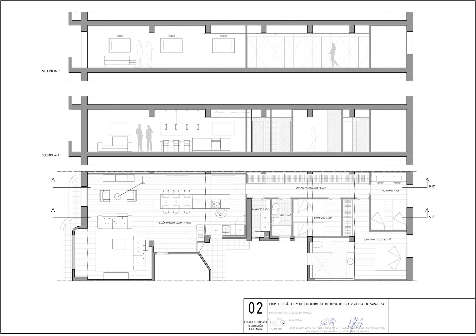 proyecto de reforma interior de una vivienda en Conde Aranda Zaragoza realizado por el estudio de arquitectura diseño e interiorismo A54insitu ubicado en Las Armas Zaragoza
