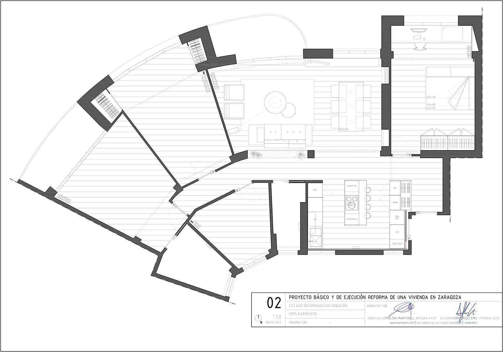 proyecto de reforma interior de una vivienda en Sagasta Zaragoza realizado por el estudio de arquitectura diseño e interiorismo A54insitu ubicado en Las Armas Zaragoza