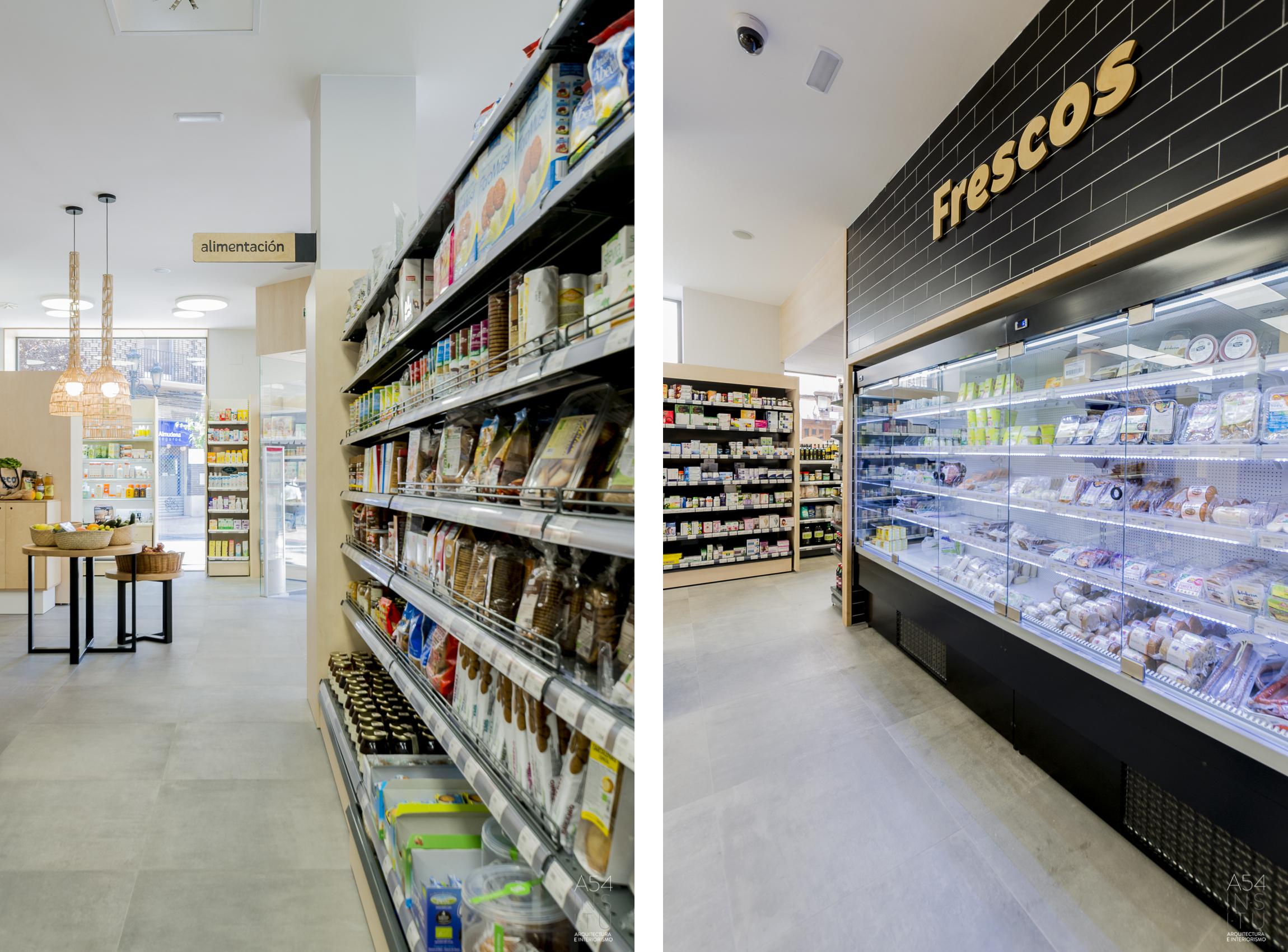 proyecto de reforma interior de un local para comercio ecológico en Zaragoza realizado por el estudio de arquitectura diseño e interiorismo A54insitu ubicado en Las Armas Zaragoza