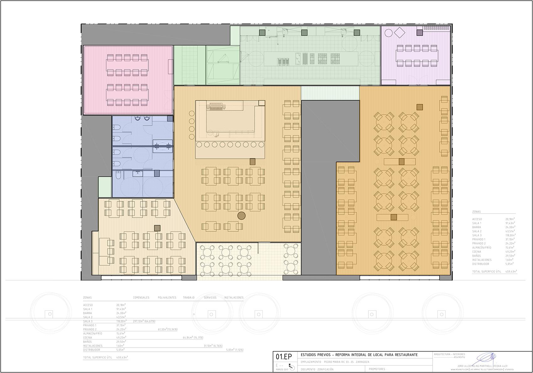 proyecto reforma integral de interiores de un local para restaurante en Zaragoza realizado por el estudio de arquitectura diseño e interiorismo A54insitu ubicado en Las Armas Zaragoza