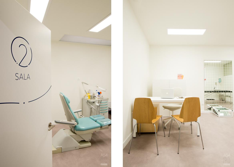 proyecto de reforma integral de interiores de un centro de podología modalidad llaves en mano en Zaragoza realizado por el estudio de arquitectura y diseño de interiores A54insitu