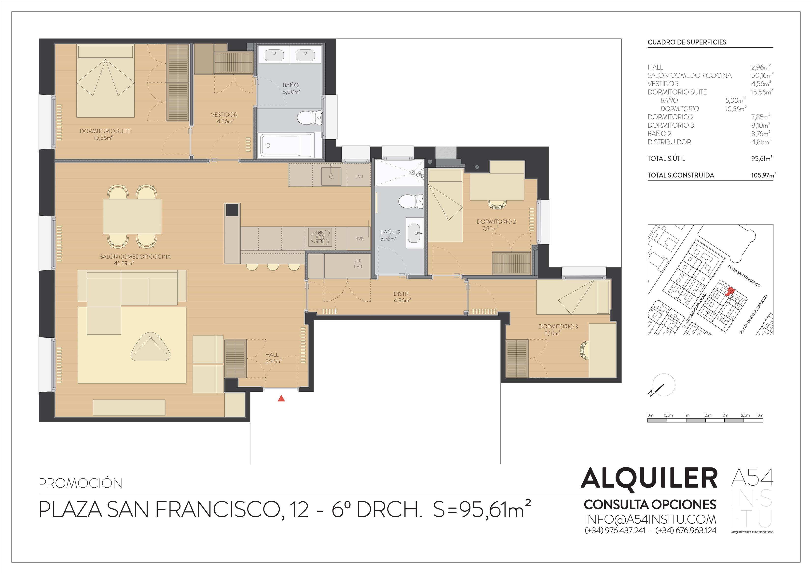 en alquiler reforma integral de vivienda en Plaza San Francisco laves en mano A54insitu arquitectura y diseño zaragoza